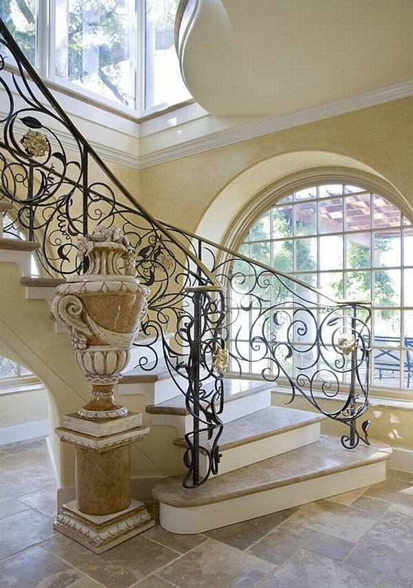 modern-spiral-staircases-with-leaf-plant-pattern-iron-banister-decoration