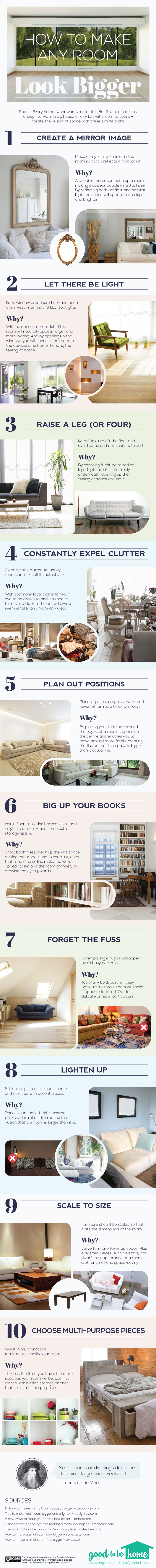 How to make any room look bigger: an infographic guide.