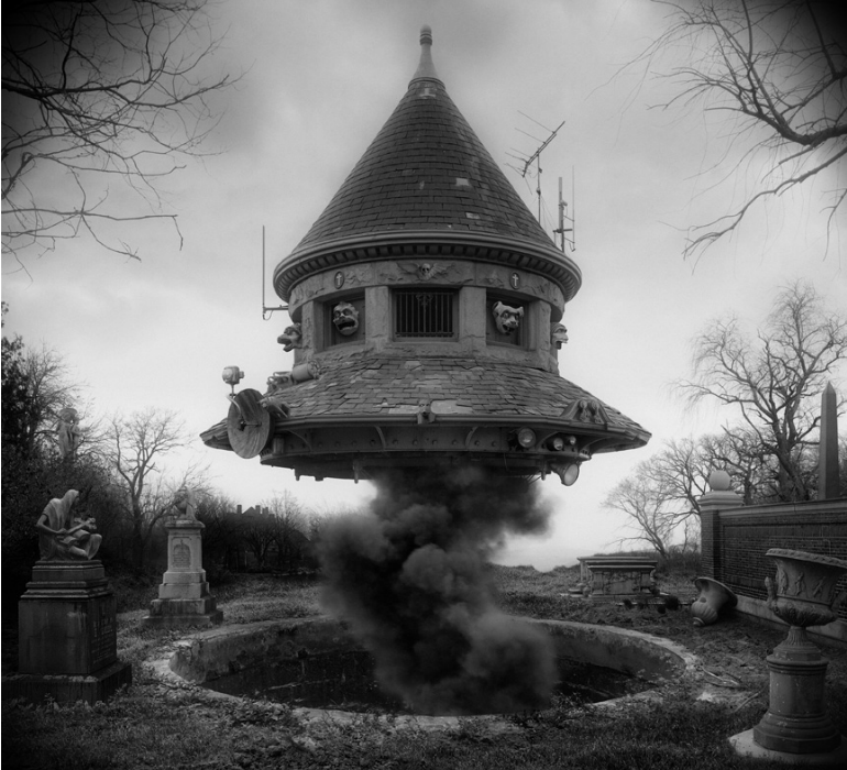 Jim Kazanjian's collection of foreboding photo composites combine the banal with the horrific