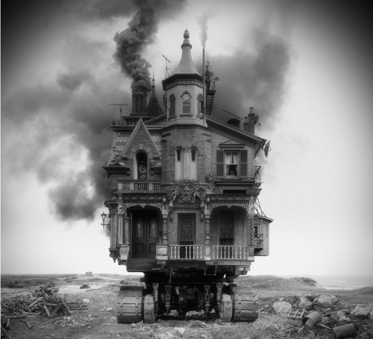 These leftfield images are the creations of Jim Kazanjian, an artist who brings out the horror in 100 years of architecture