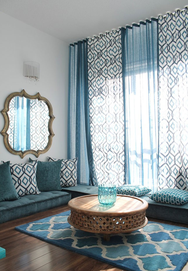 Blue floor length curtains