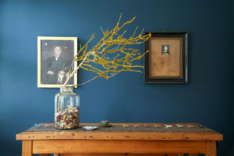 Decorative twigs on dining table, as seen in Home for Now by Joanna Thornhill
