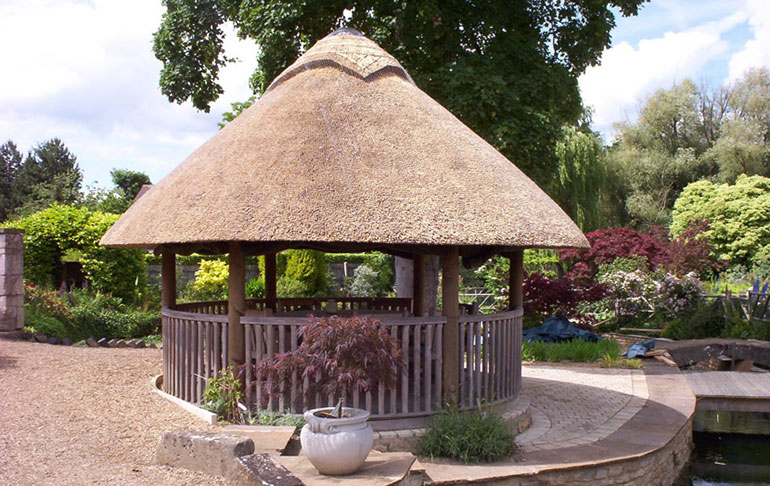 Thatched roof shed