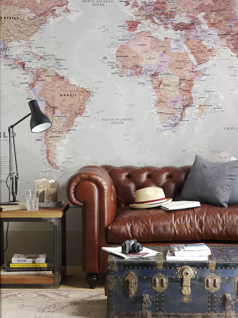 World maps can help create an expensive looking bachelor pad