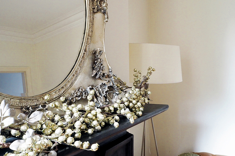 Oversized lampshade and mirror