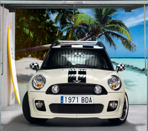 Mini Cooper sunny beach garage door cover