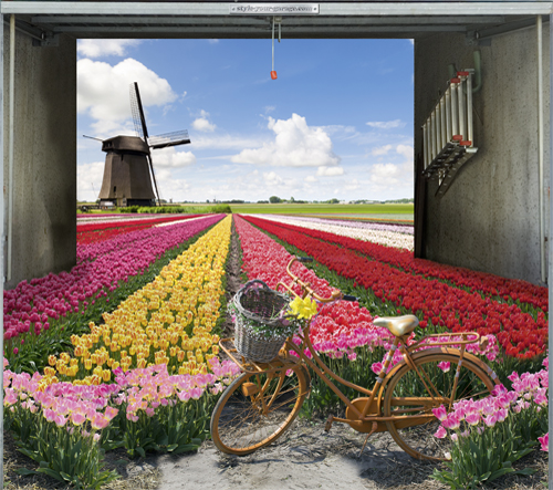 Tulip field garage door cover