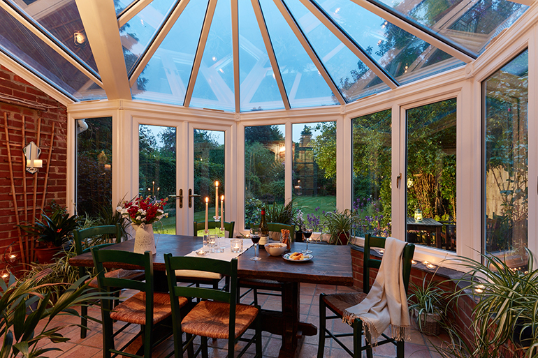 Inside view of a clear conservatory roof