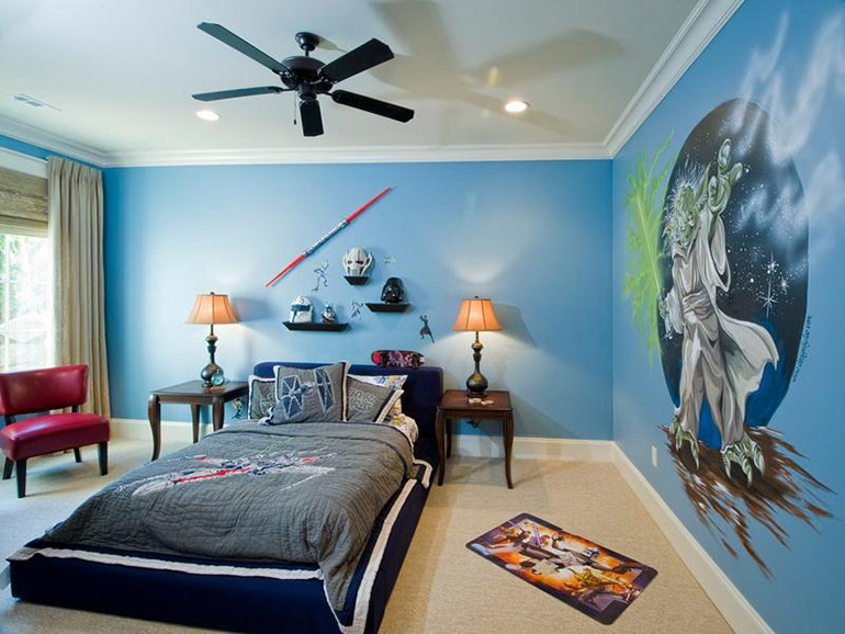 Bright and colorful Star Wars bedroom