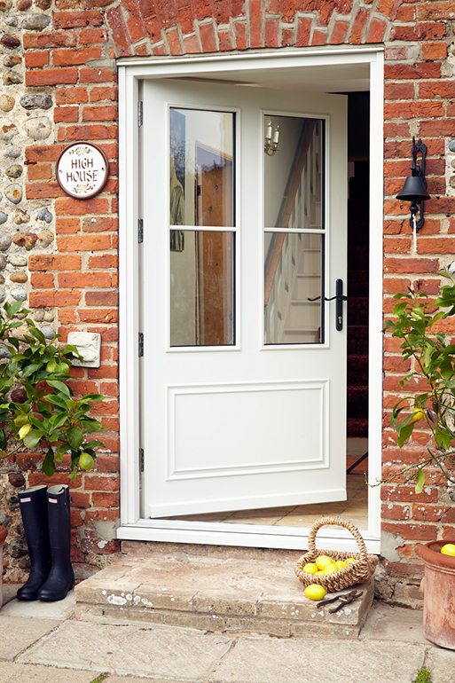 Anglian white wooden door with 2 glass panes