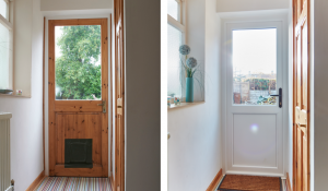 Interior back door before and after