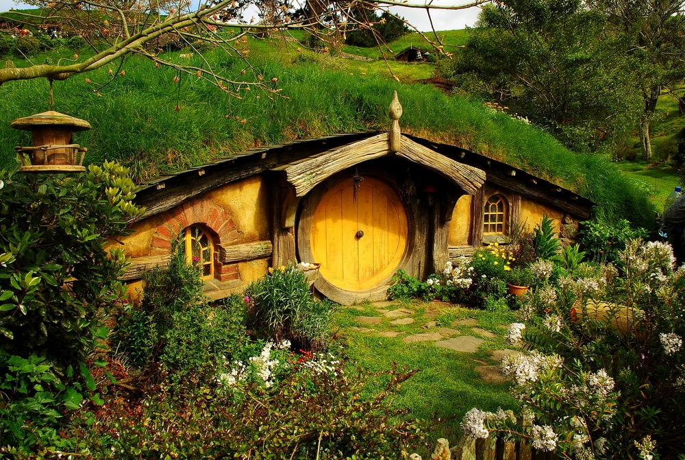 The colourful front doors to the home of the Hobbit