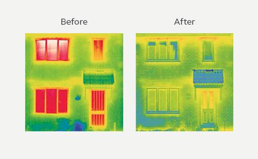 Thermal energy efficiency before and after