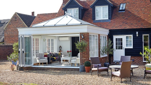 Superb Anglian orangery with White Knight upvc windows and doors