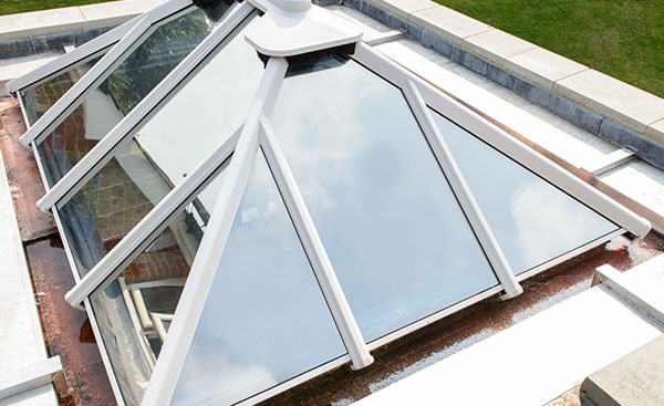 Small white roof lantern on an orangery from Anglian Home Improvements