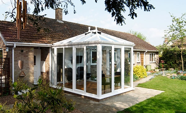 White uPVC Edwardian conservatory square design from the Anglian classic conservatory range