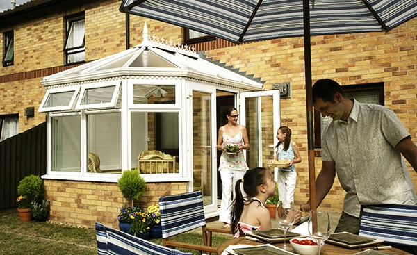 New uPVC classic style conservatory in White from Anglian Home Improvements