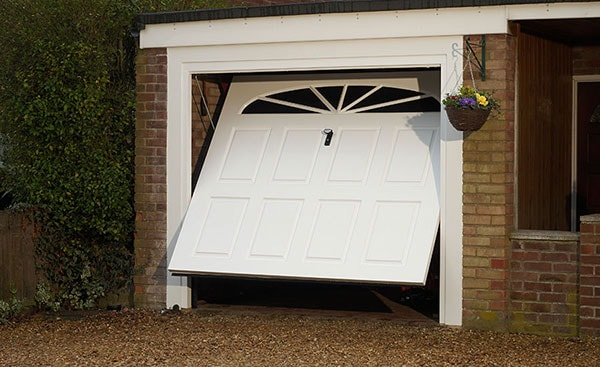 White GRP one piece garage door
