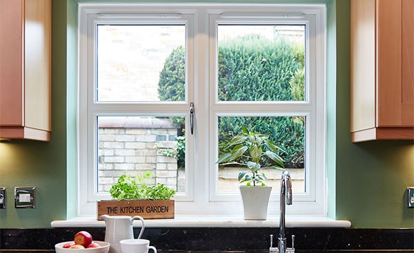 uPVC cream casement window in the kitchen