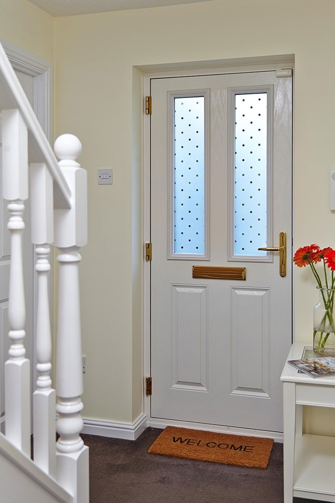 white front door inside. White GRP Composite Front Door With Decorative Glass Inside T