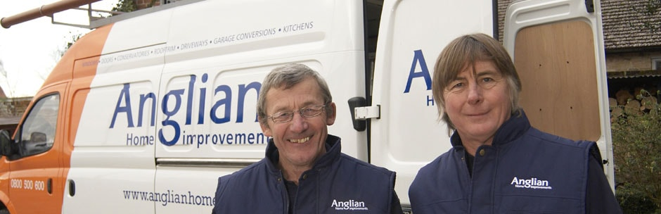 Anglian Home Improvements van and installers