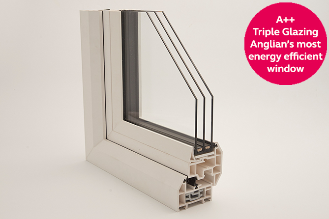 Anglian's A++ triple glazed window sample
