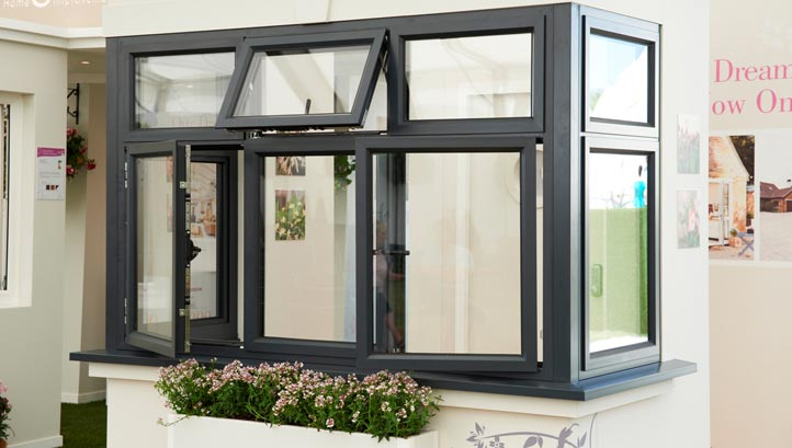 Anglian Aluminium window in Anthracite Grey at the aluminium window launch