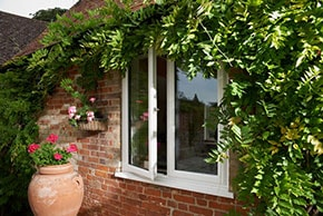 triple glazed window opened with ivy surrounding it