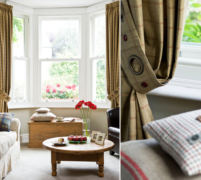 Ann Broad curtains in a bay window