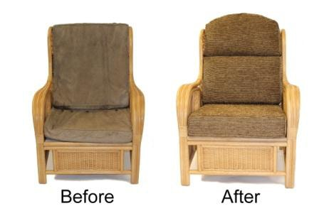Before & After shot of wicker furniture makeover