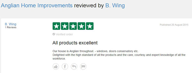 B Wing's TrustPilot review of Anglian Home Improvements