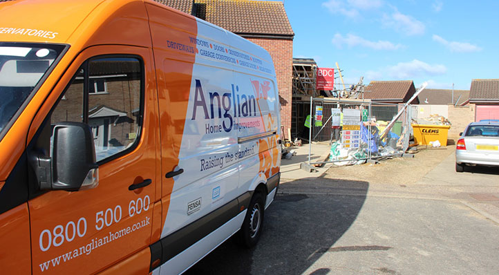 An Anglian Home Improvements installer van