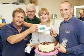 Eamon, David, Karlene and Terry taking part in MacMillan Coffee Day 2014