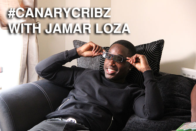 Jamar Loza chilling on the sofa