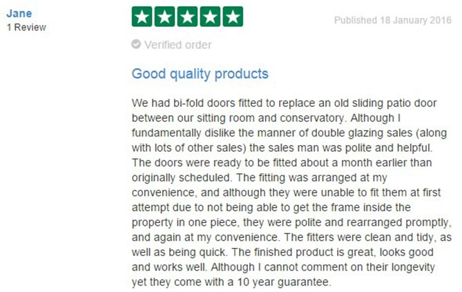 Jane Henry's Review on TrustPilot of Anglian Home Improvements