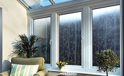 Anglian conservatory with Laura Ashley decorative glass