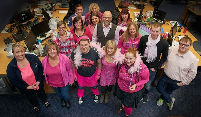 Anglian's Marketing dept. in pink for Breast Cancer Awareness.