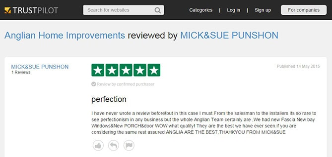 Mick and Sue Punshon's TrustPilot Review