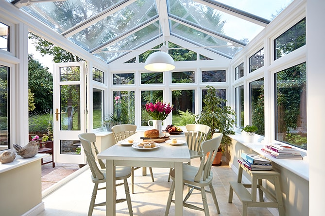 Modern white wooden conservatory