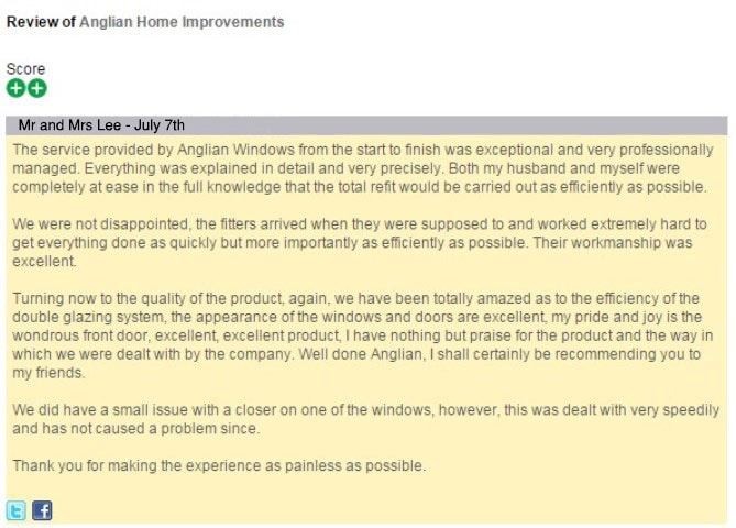 Mr and Mrs Lee's review of Anglian Home Improvements