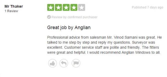 Mr Thaker's review of Anglian Home Improvements from TrustPilot