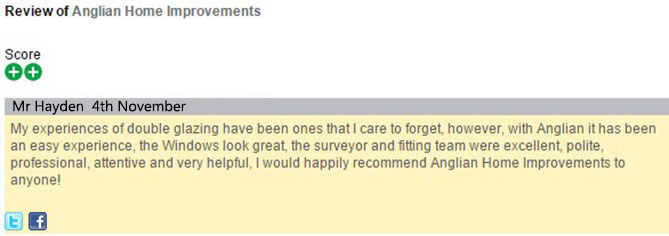 Mr Haydens' review of Anglian Home Improvements