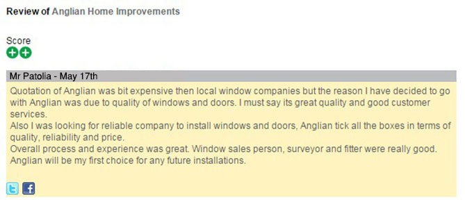 Mr Patolia's Feefo review of Anglian Home Improvements