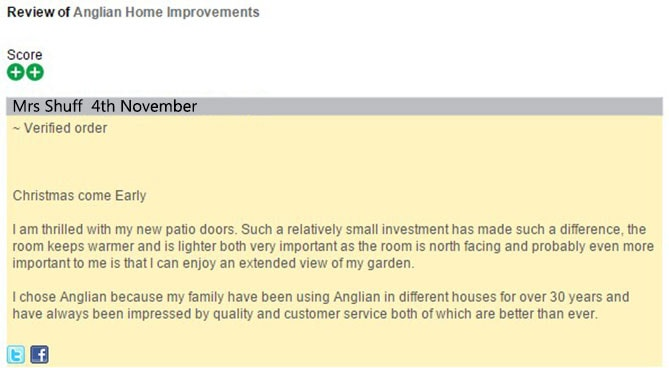 Mrs Shuff's Feefo review of Anglian Home Improvements