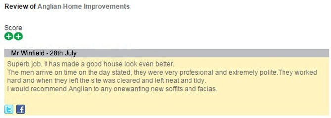 Mr Winfield's Feefo review of Anglian Home Improvements