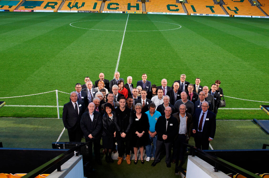 Anglian's longest serving staff members with Ricky Van Wolfswinkel