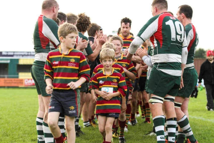 Norwich Rugby Club's mascots against Basildon