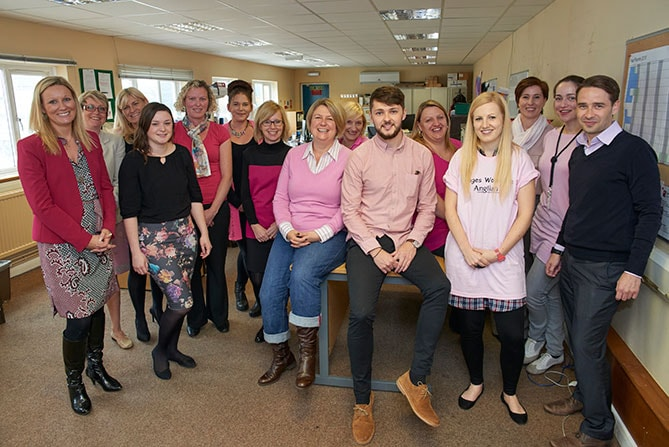 Anglian's Occupational Health dept. in pink for Breast Cancer Awareness.