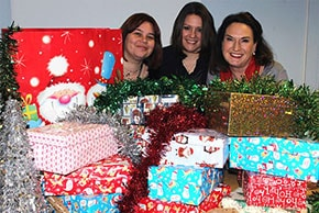Anglian donations for Operation Christmas Child with Melanie McDonald, Caron Lemmer and Debora Ramos