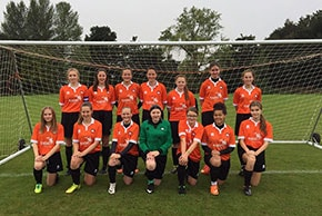Sprowston girls football team sponsored by Anglian